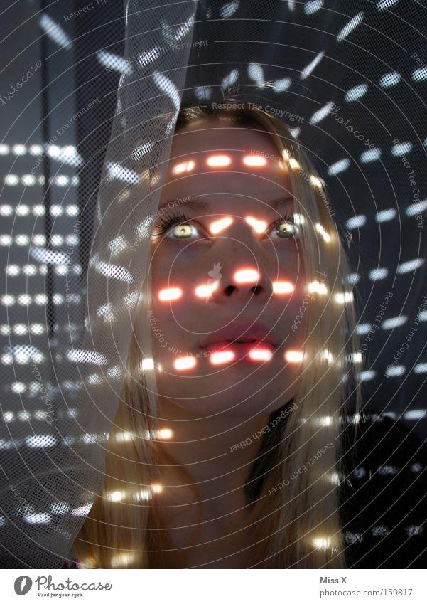 Woman Sun Eyes Sunbeam Window Lighting Blonde Radiation Drape Dazzle Looking Roller shutter