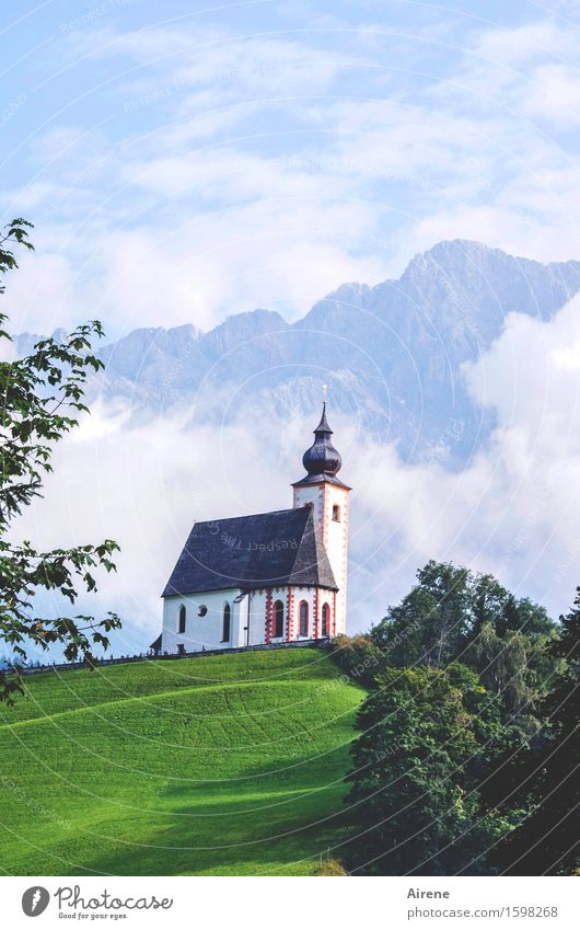 scenery Architecture Sky Clouds Beautiful weather Fog Alps Mountain High King Austria Village Manmade structures Church Onion tower Tourist Attraction Blue