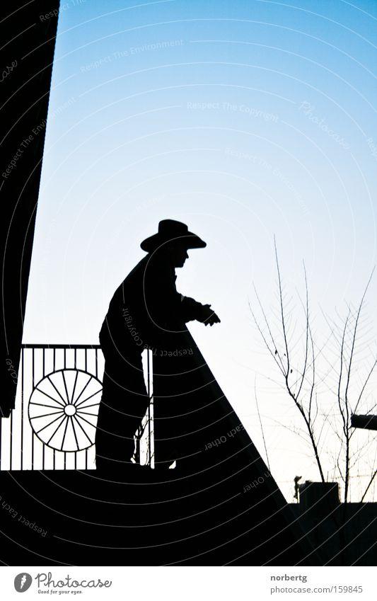 siesta Cowboy Silhouette Blue Far-off places Ranch Veranda Calm Sunrise Man