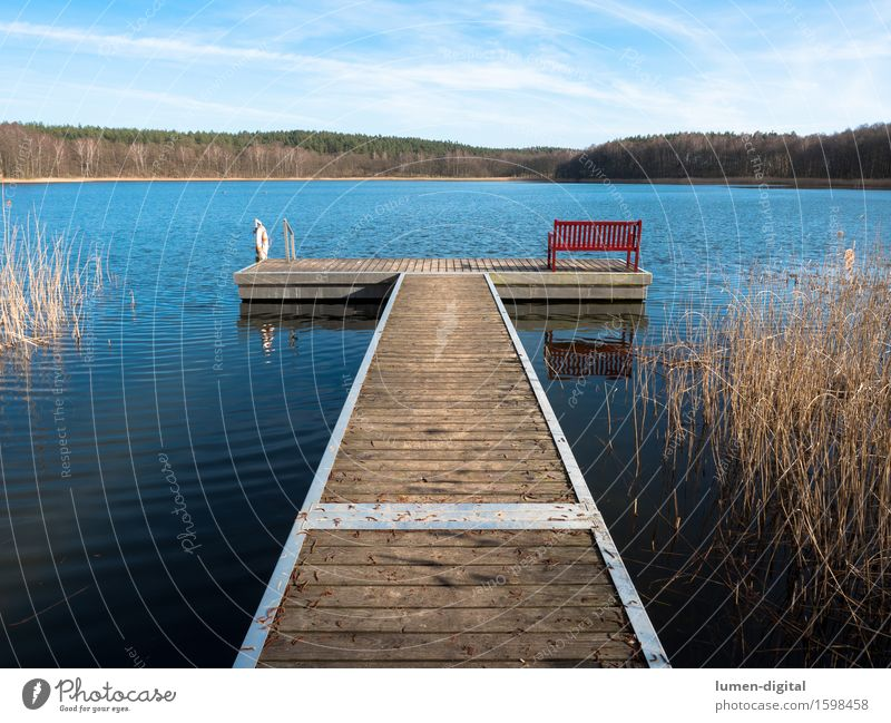 Boat landing stage with red bench Relaxation Calm Summer Nature Water Sky Spring Lakeside jetty Wood Perspective Symmetry Vacation & Travel rest Bench