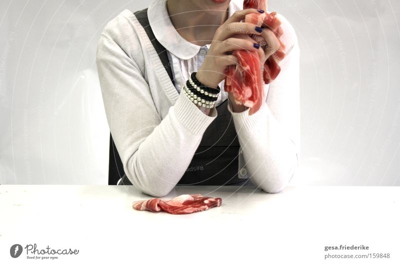 Human being Woman Hand Red Cold Emotions Eating Table Crazy To hold on Illness Force Food Obscure Meat Aggression