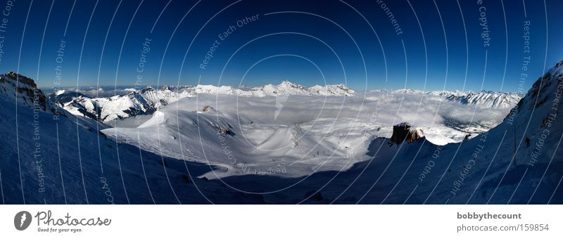 Sky White Blue Clouds Cold Snow Mountain Landscape Large Vantage point Alps France Panorama (Format) Nature