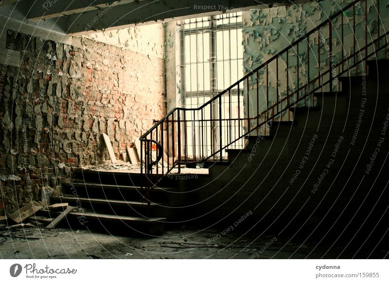 Old Life Window Room Time Living or residing Transience Derelict Decline Handrail Destruction Staircase (Hallway) Memory Location Vacancy Military building