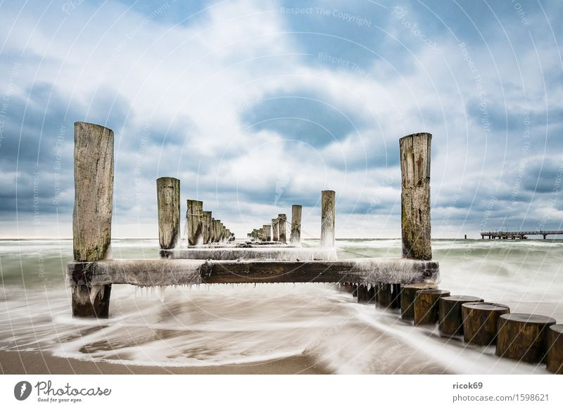 Stage at the Baltic Sea coast Relaxation Vacation & Travel Tourism Beach Winter Nature Landscape Water Clouds Coast Cold Blue Idyll Calm Break water Ice Zingst