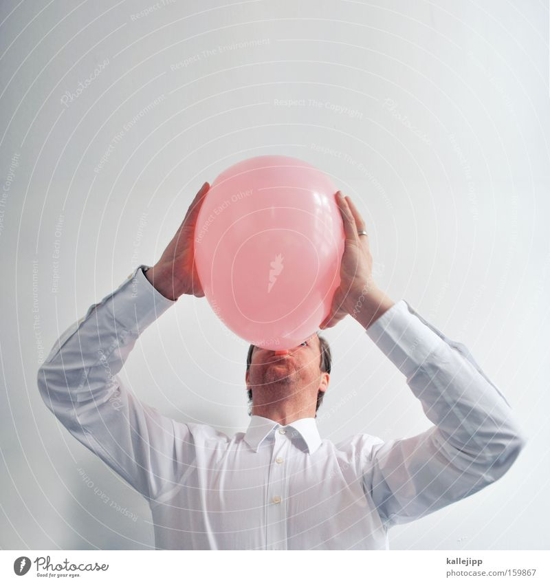 fun factor Joy Pink Feasts & Celebrations Birthday Playing Childrens birthsday Shirt Man Human being Blow Bubble Balloon Air lung volume