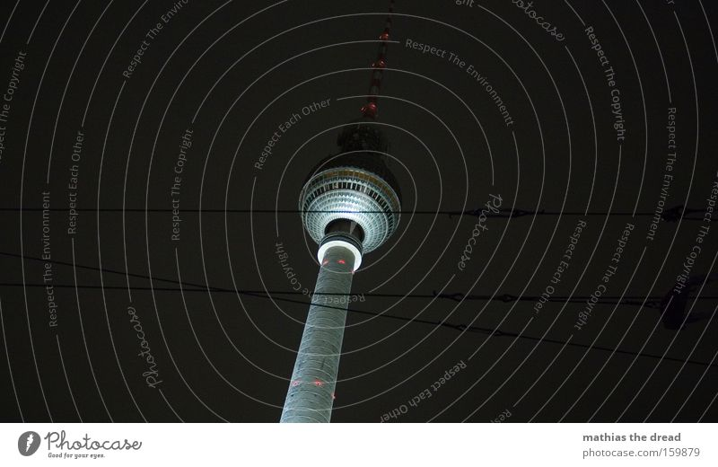 Big Brother Berlin TV Tower Television tower Alexanderplatz Tall Sphere Mystic Beautiful Night Black Cable Dark Lighting Landmark Monument