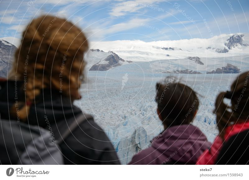 Waiting for the break Head Hair and hairstyles 3 Human being Ice Frost Mountain Glacier Observe Hiking Expectation Horizon Cold Tourism Vacation & Travel
