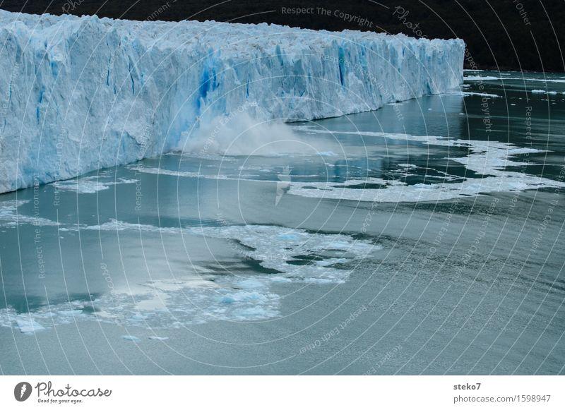 Perfect finish Glacier Coast Exceptional Sharp-edged Cold Broken Blue White Uniqueness Power Decline Transience Change Perito Moreno Glacier calve Dismantling