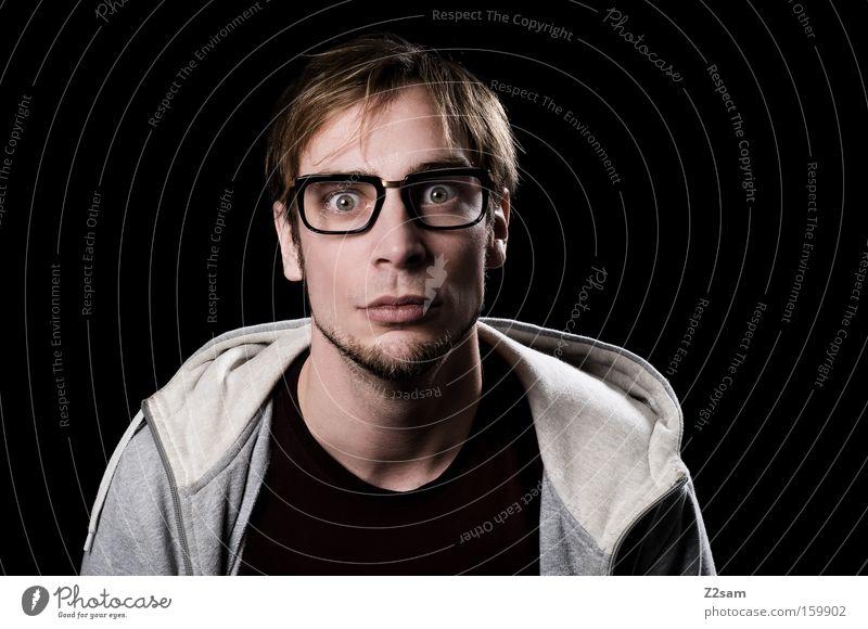 Nerd? Portrait photograph Man Face Eyeglasses Smart Ask Looking Hooded (clothing) Intellect Geek