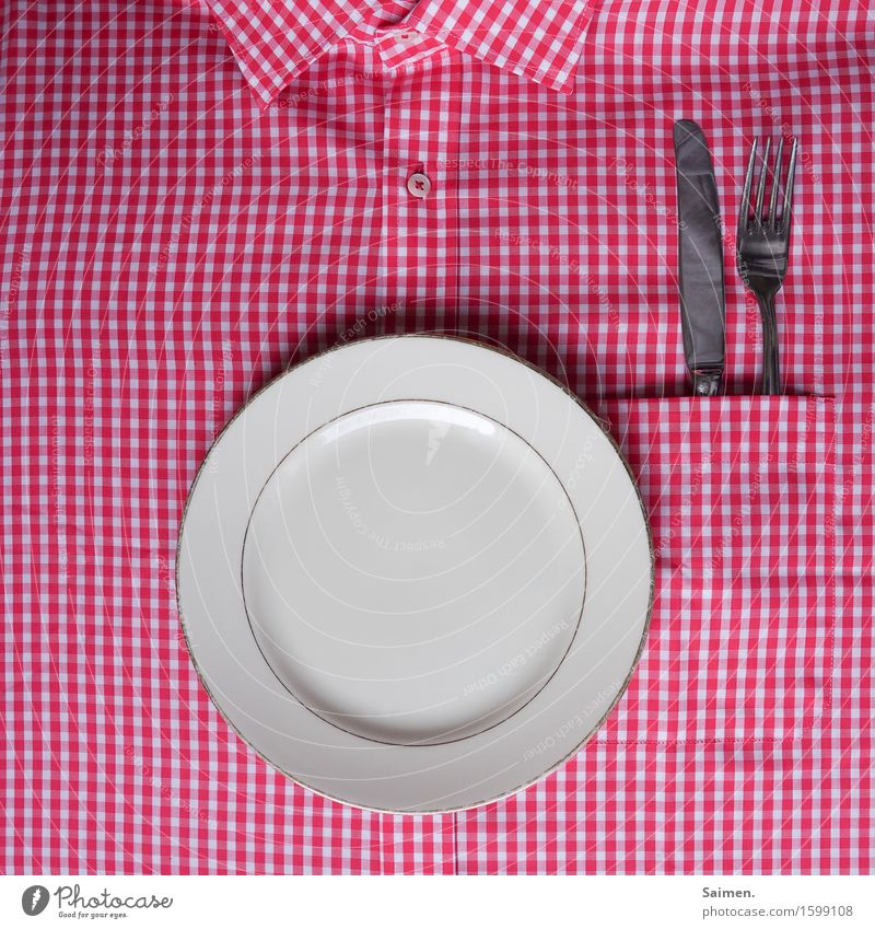 White Red Nutrition Crockery Shirt Plate Knives Checkered Buttons Cutlery Fork Collar