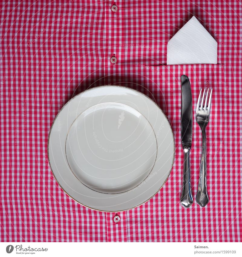 domestic improvisation Decoration Idea Plate Cutlery Napkin Shirt Checkered Knives Fork Buttons Colour photo Interior shot Close-up Deserted Copy Space left
