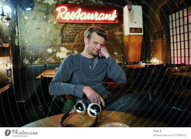 restaurant Human being Masculine Man Adults 1 45 - 60 years Leisure and hobbies Roadhouse Berlin Restaurant Old town Colour photo Interior shot