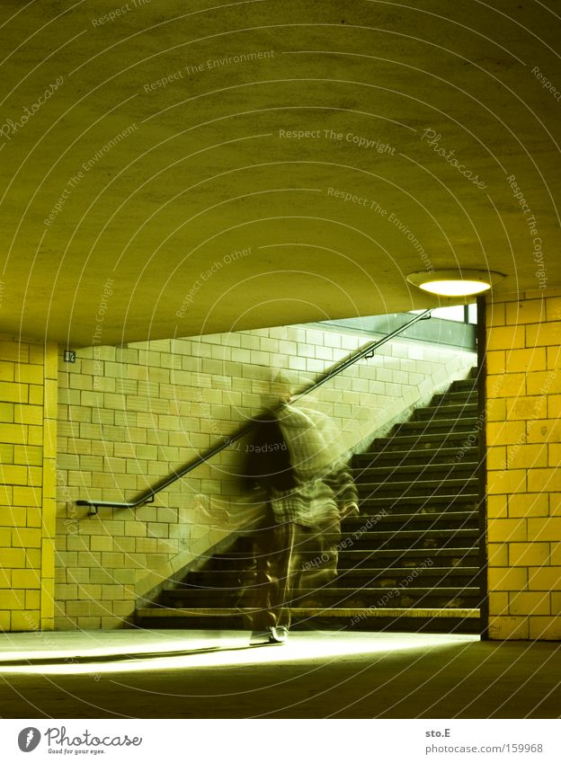 expeditious Tunnel Stairs Handrail Banister Bridge railing Light Lighting Mosaic Movement Spree Train station Architecture Stress Haste Traffic infrastructure