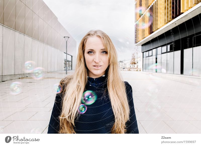 Young woman with soap bubbles Human being Feminine Youth (Young adults) 1 18 - 30 years Adults Building Wall (barrier) Wall (building) Sweater Piercing Blonde