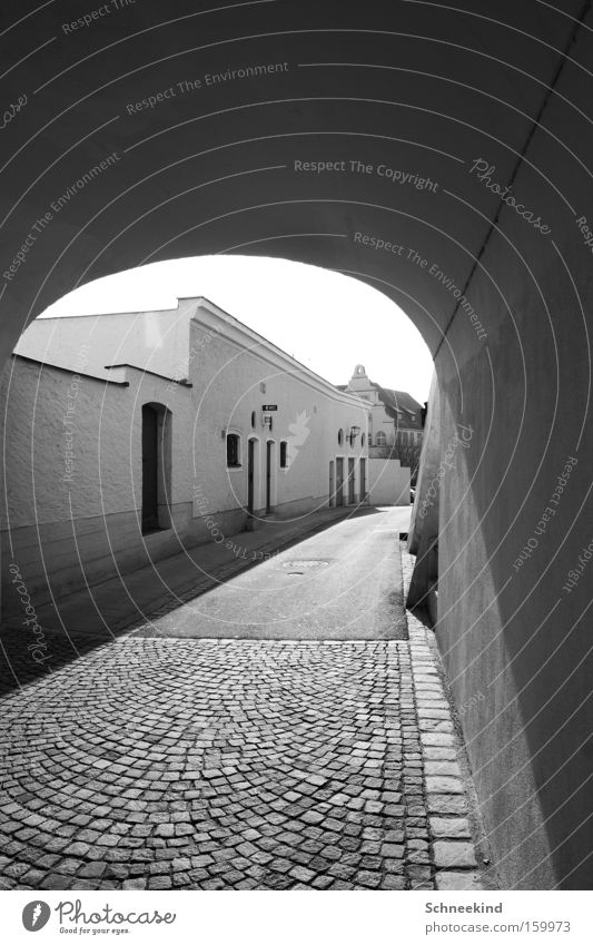 old town Town Old town Flat (apartment) Street Toilet Cobblestones Wall (building) Light Shadow Black & white photo Lanes & trails Sun Building Tunnel Gate