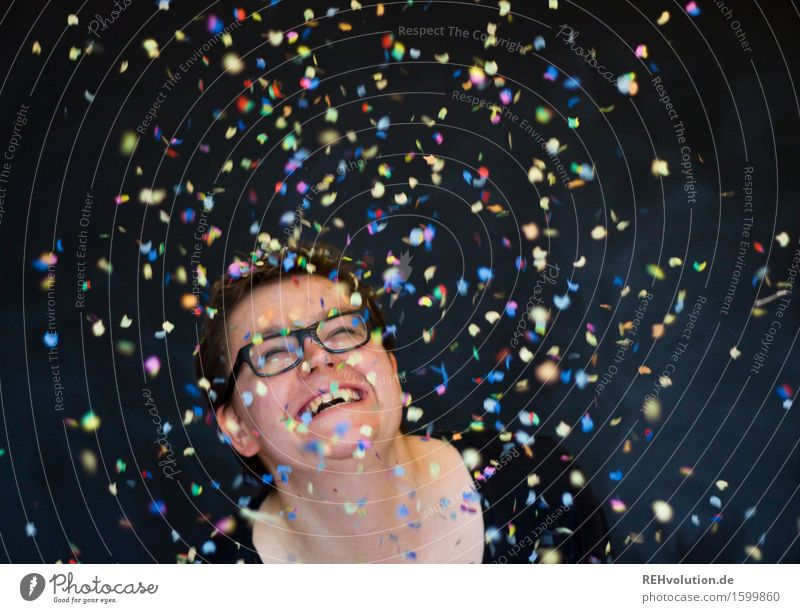 Woman in the rain of confetti Human being Feminine Young woman Youth (Young adults) 1 18 - 30 years Adults 30 - 45 years Eyeglasses Short-haired Laughter luck