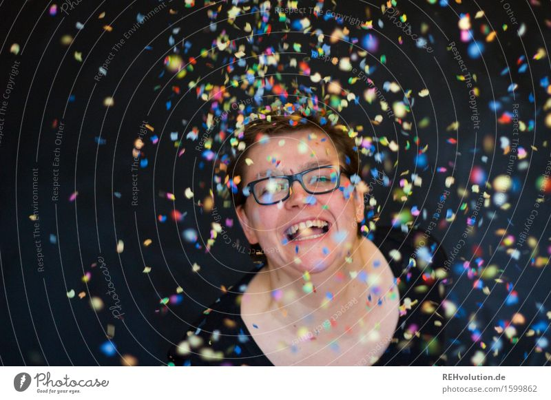 400 | with party and confetti Human being Feminine Young woman Youth (Young adults) 1 30 - 45 years Adults Eyeglasses Flying Smiling Laughter Free Happiness