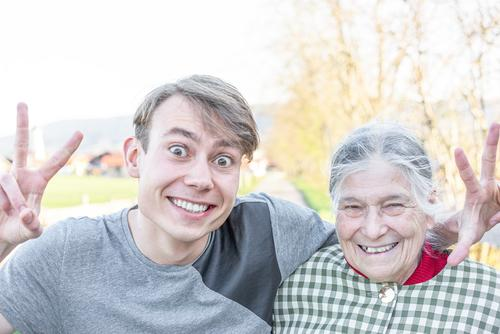 happy senior citizen with grandson Joy Happy Human being Young man Youth (Young adults) Female senior Woman Grandparents Senior citizen Grandmother