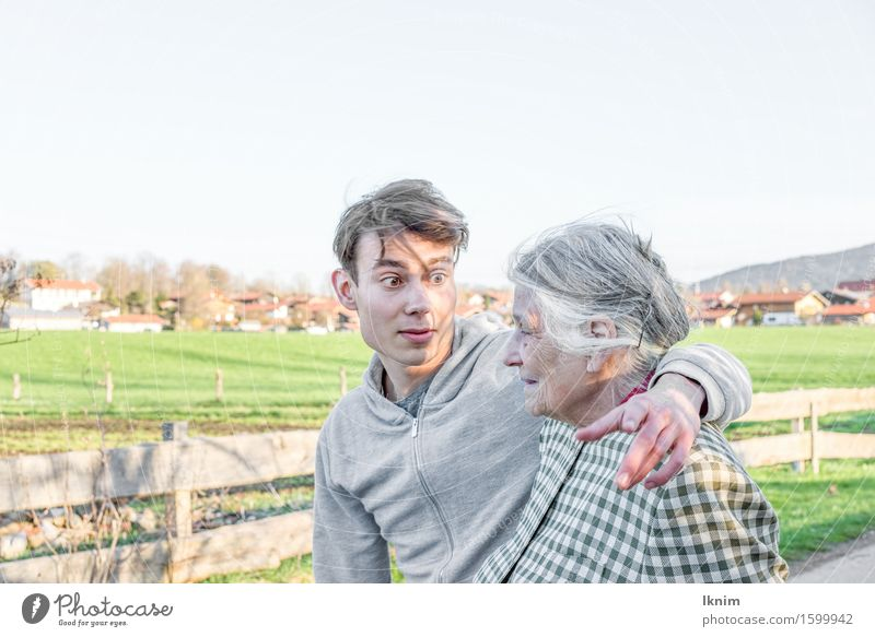 young man and old woman going for a walk Care of the elderly Apprentice Health care To talk Young man Youth (Young adults) Female senior Woman Grandmother