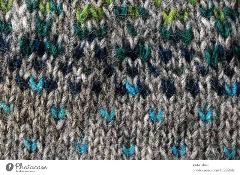 knitted in many colours Fashion Sweater Wool Hip & trendy Beautiful Knit island-wool Pattern Handcrafts Rustic Gray Blue Green Warmth Multicoloured Detail