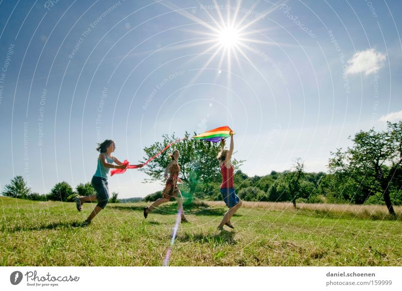 Everything's gonna be fine! Summer Spring Movement Walking Playing Sun Sky Meadow Sunbeam Girl Child Kiting Joy Celestial bodies and the universe