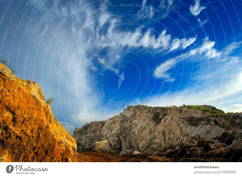 Yellow Rock and Cloud Formation Environment Nature Landscape Sky Clouds Sunlight Summer Warmth Hill Mountain Canyon Esthetic Elegant Far-off places Free Hot