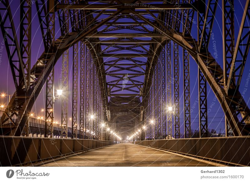Historical Elbe bridges Port City Bridge Tourist Attraction Traffic infrastructure Bicycle Harbour Steel Esthetic Exceptional Elegant Blue Contentment Complex