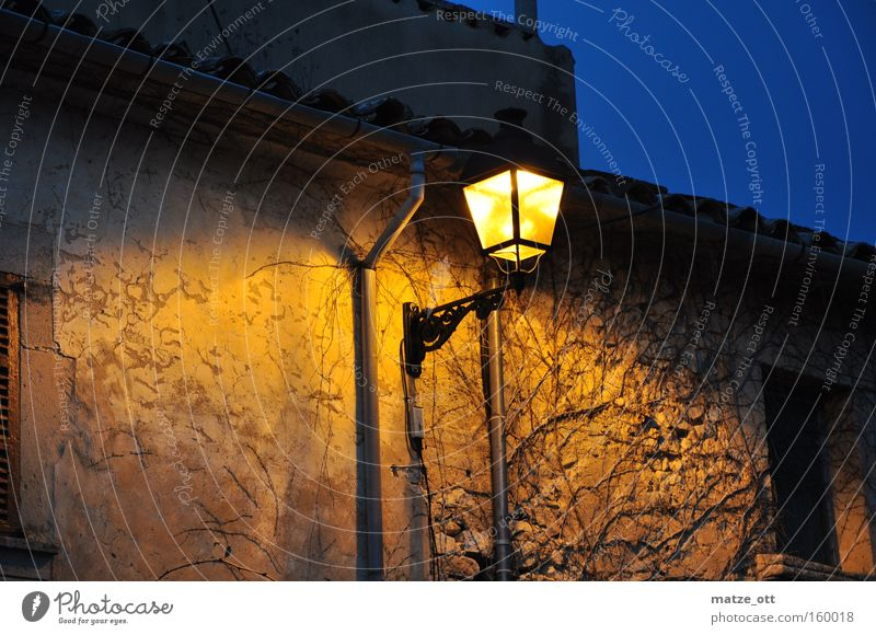 warm light at dusk Twilight Street lighting Lantern Light Night Evening Dusk Dark House (Residential Structure) Town Village Majorca Spain Historic Detail