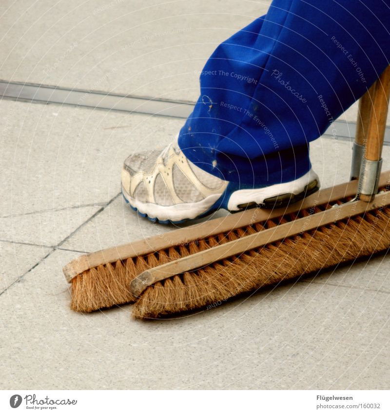 Work and employment Dirty Break Cleaning Broom Sweep Work break Working clothes Overalls Illicit work