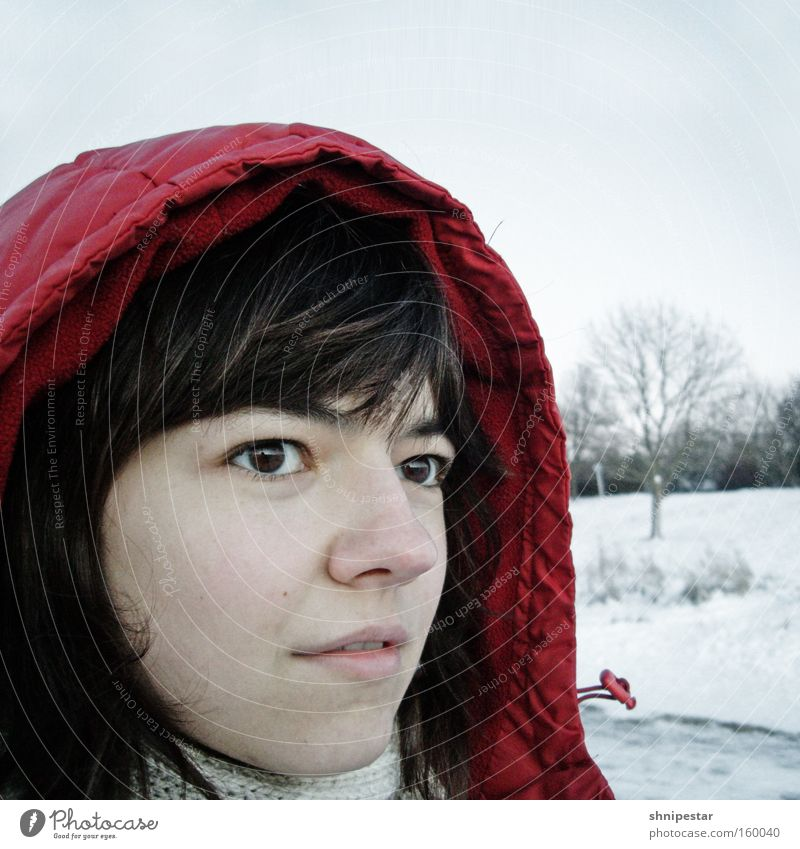 Red Winter Face Eyes Cold Snow Hair and hairstyles To go for a walk Jacket Square Brunette Freeze Relationship Skeptical Hooded (clothing) Partially visible