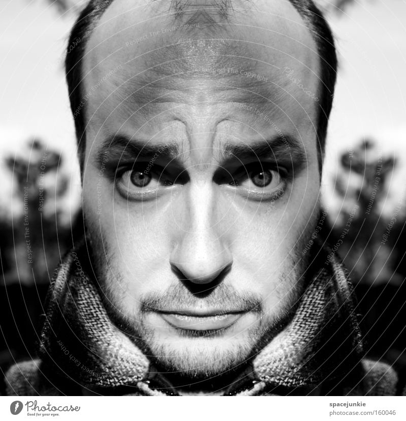 hypnotic Man Portrait photograph Black & white photo Reflection Forehead Whimsical Hypnotic Soul Freak Joy frown psychedelic