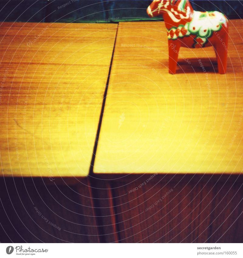 Old Beautiful Red Yellow Playing Art Flat (apartment) Leisure and hobbies Illuminate Decoration Table Corner Horse Kitsch Scandinavia Furniture