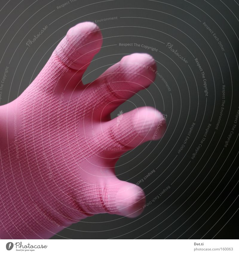 Hand Colour Pink Fingers Protection Clean Cleaning Wrinkles Bizarre Strange Grasp Gloves Partially visible Section of image Rubber Curved