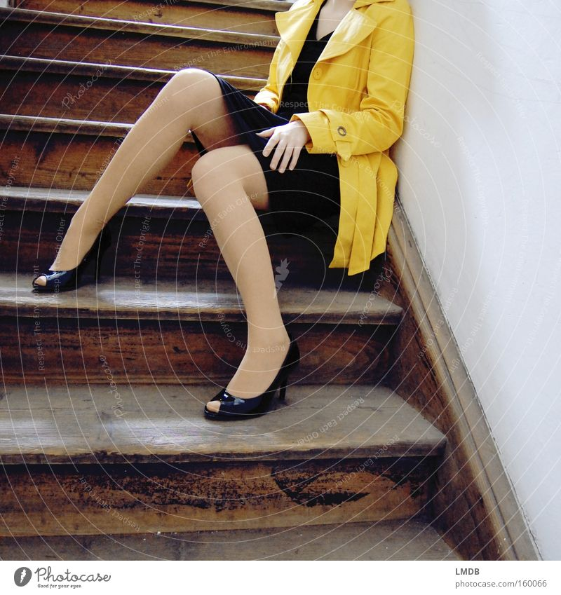 Waiting for spring weather High heels Yellow Staircase (Hallway) Stairs Trench coat Coat Woman Black Lascivious peeptoes Ladder gaudy color Legs