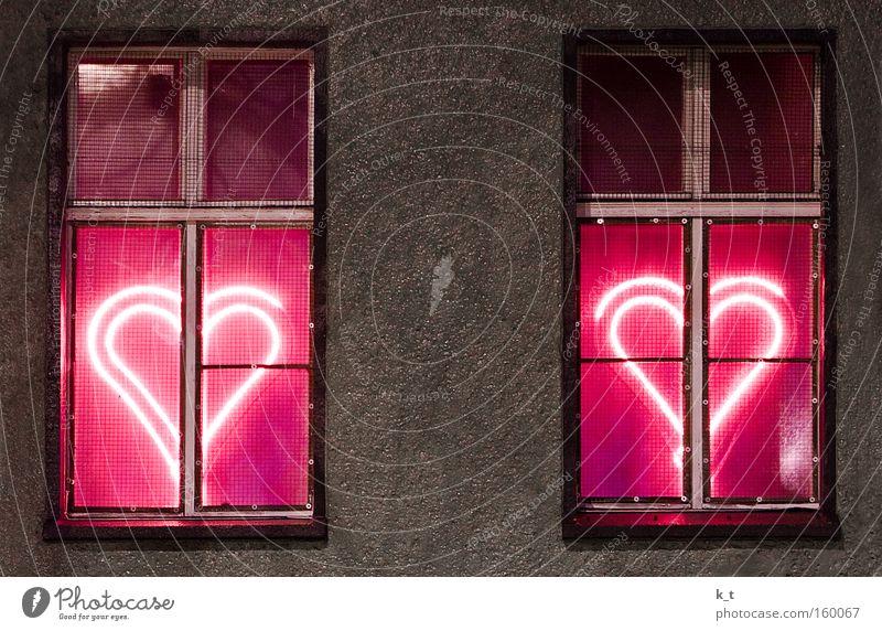 urban love Colour photo Exterior shot Deserted Night Artificial light Light Long exposure Central perspective Facade Window Concrete Sign Heart Illuminate Love