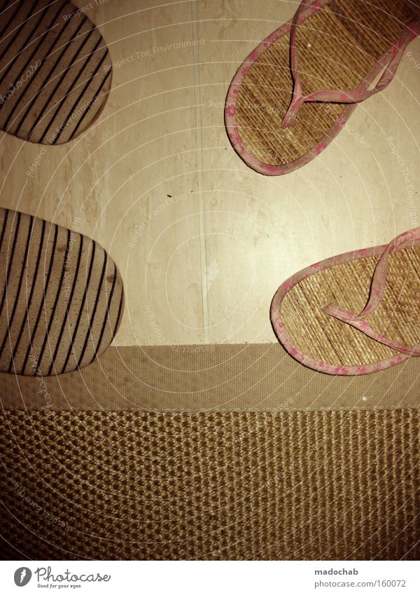 Footwear Flat (apartment) In pairs Trust Partner Home country Bedroom Matrimony Photos of everyday life Slippers Shuffle