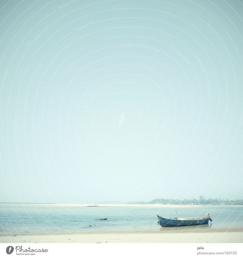 aground Loneliness Far-off places Light Water Ocean Beach Watercraft Vacation & Travel Calm Peace Blue Freedom Sand Bright India Coast Peaceful