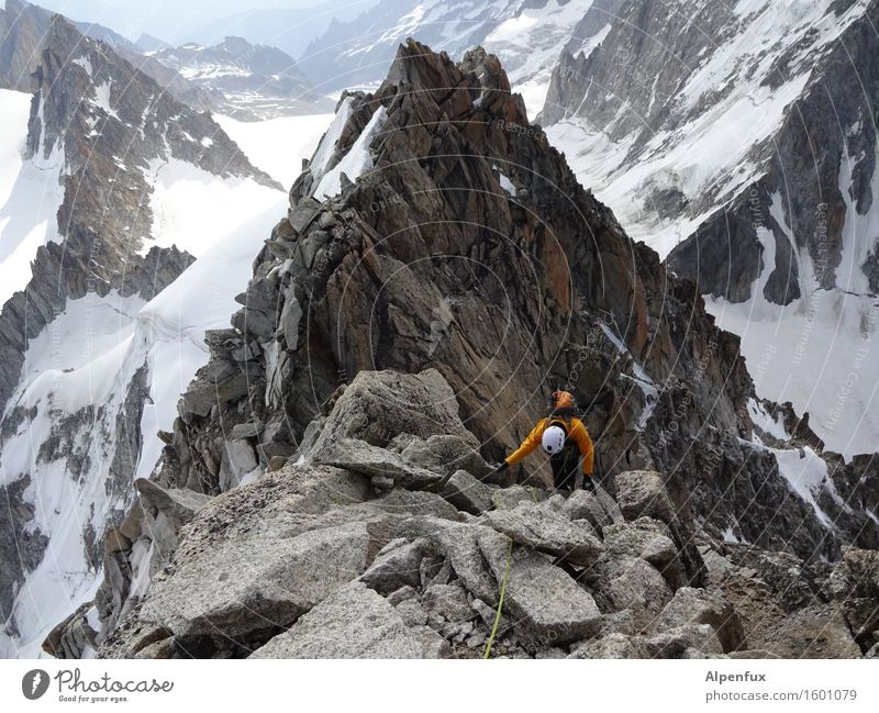 Mountain Sports Above Rock Hiking Adventure Alps Snowcapped peak Fear of heights Climbing Athletic Passion Pain Brave Effort Mountaineering