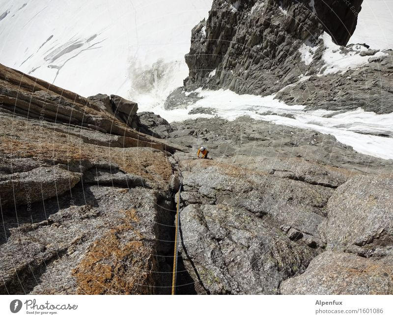 Long way to go Mountain Climbing Mountaineering Rock Alps Mont-Blanc du Tacul Glacier To fall Freeze Athletic Success Above Power Willpower Brave Determination