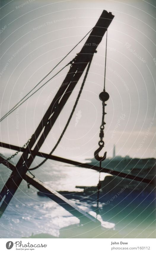 Ocean Vacation & Travel Far-off places Relaxation Dream Landscape Coast Industry Industrial Photography Harbour Analog To enjoy Lighthouse Crane Safety (feeling of) Hold