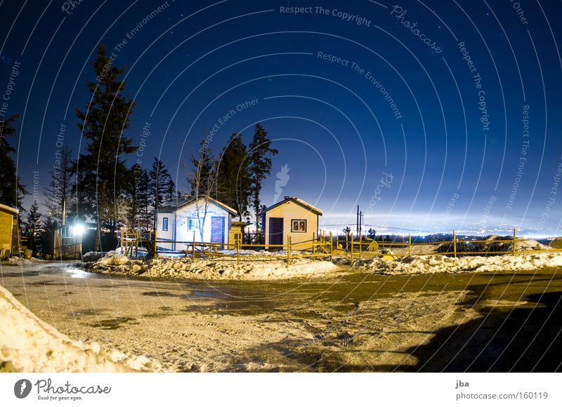 At night on the farm Night Sky Considerable Stars Snow Light Vantage point Fir tree House (Residential Structure) Hut Calm Loneliness Fence Long exposure Gravel