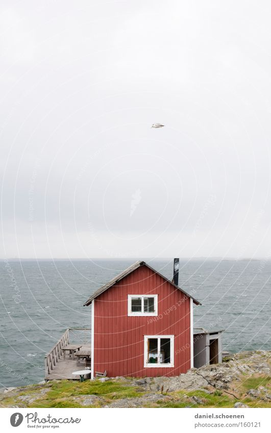 holiday cottages House (Residential Structure) Hut Ocean Sweden Scandinavia Sky Weather Summer Wood Red Blue Water Horizon Light Colour Beach Coast
