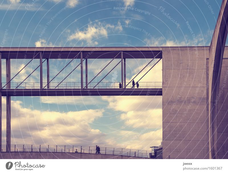 two bridges Human being Berlin Capital city Bridge Architecture Wall (barrier) Wall (building) Going Looking Esthetic Large Tall Blue Gray White