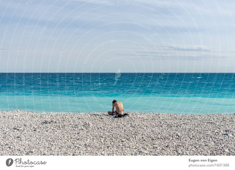 Sitting boy at the Côte d'Azur Relaxation Calm Meditation Sun Beach Ocean Waves Masculine Young man Youth (Young adults) 1 Human being 18 - 30 years Adults