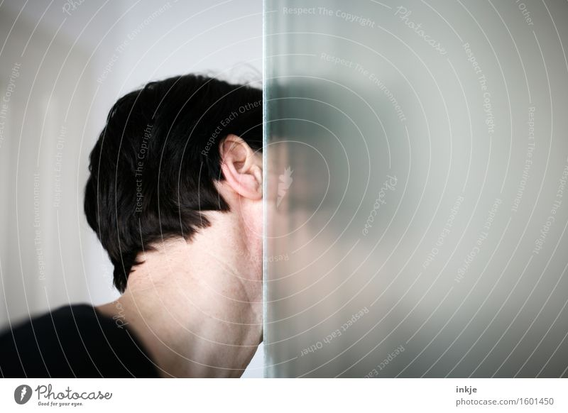Human being Woman Adults Life Head Glass Observe Curiosity Discover Hide Corner Edge Half Backwards 30 - 45 years Glass door