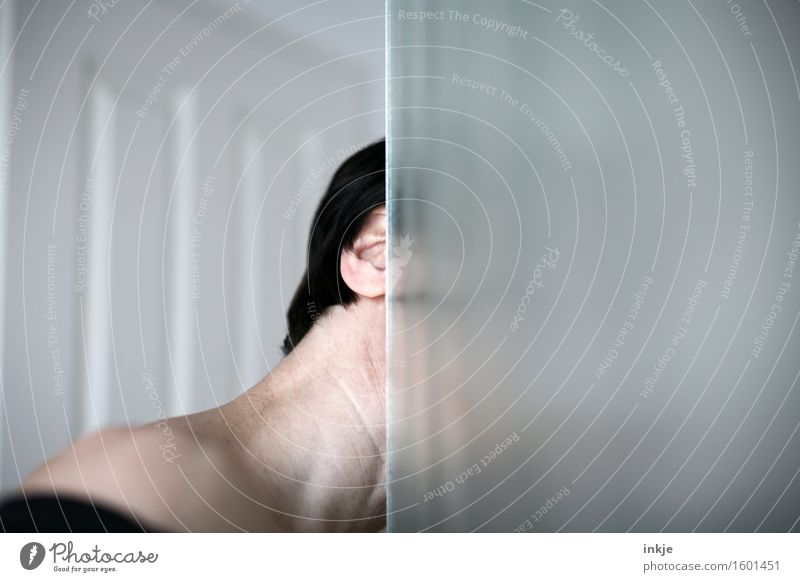 ......! Woman Adults Life Head Woman`s neck Neck 1 Human being Edge Corner Glass door Line Observe Discover Looking Curiosity Mysterious Testing & Control