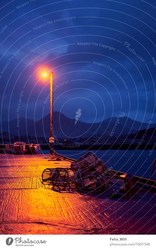 Blue hour Trip Adventure Hill Mountain Coast Boating trip Fishing boat Harbour Rope Loneliness Calm Stagnating Tourism Logistics Colour photo Multicoloured