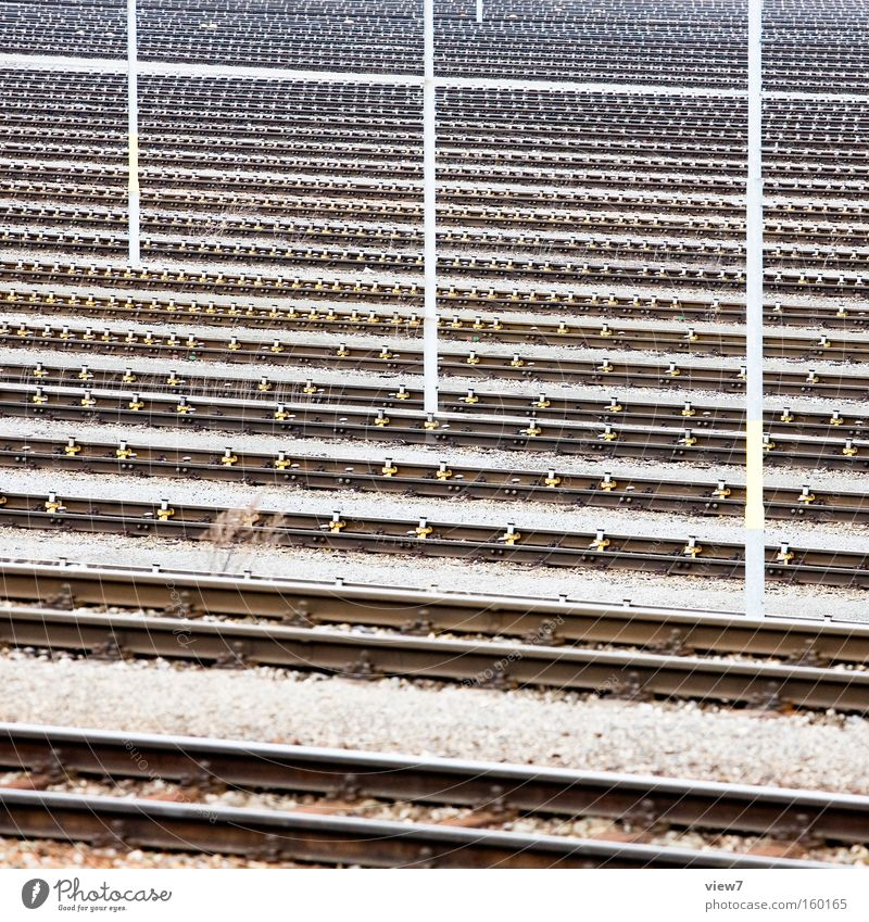 railway tracks Railroad tracks Transport Switch Train station Logistics Ecological Steel Switchyard Electricity pylon Telegraph pole Industrial Photography