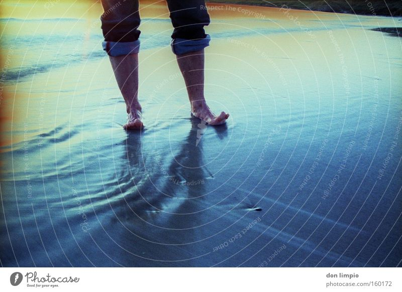 Ocean Blue Beach Colour Cold Feet Waves Wet Jeans Analog Water