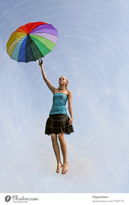 Withdrawn Multicoloured Sky Go up Umbrella Hover Air Impossible Joy Flying